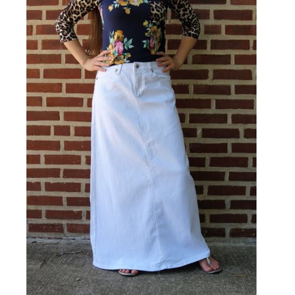 vivid and great in style new high quality uk availability ISO Maxi Length White Denim Jean Skirt